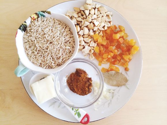 Cashew rice mise en place