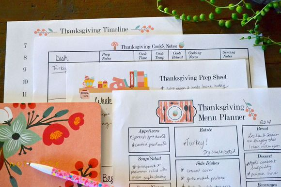 Thanksgiving prep sheets four